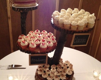 4 Tier Large Rustic Wood Cupcake Stand. Wedding Cupcake Stand. Wooden Stand