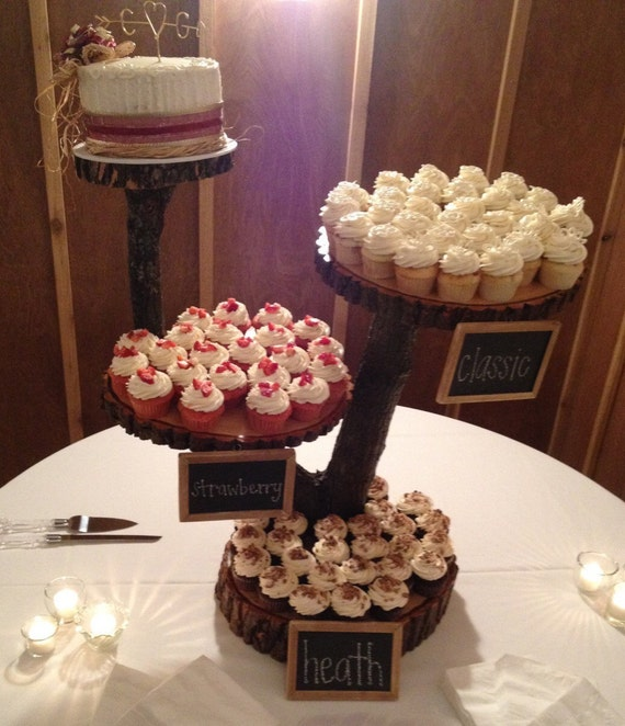 Rustic Wedding Wood Cake Stand: 4 Tier Large Rustic Wood Cupcake Stand. Wedding Cupcake Stand