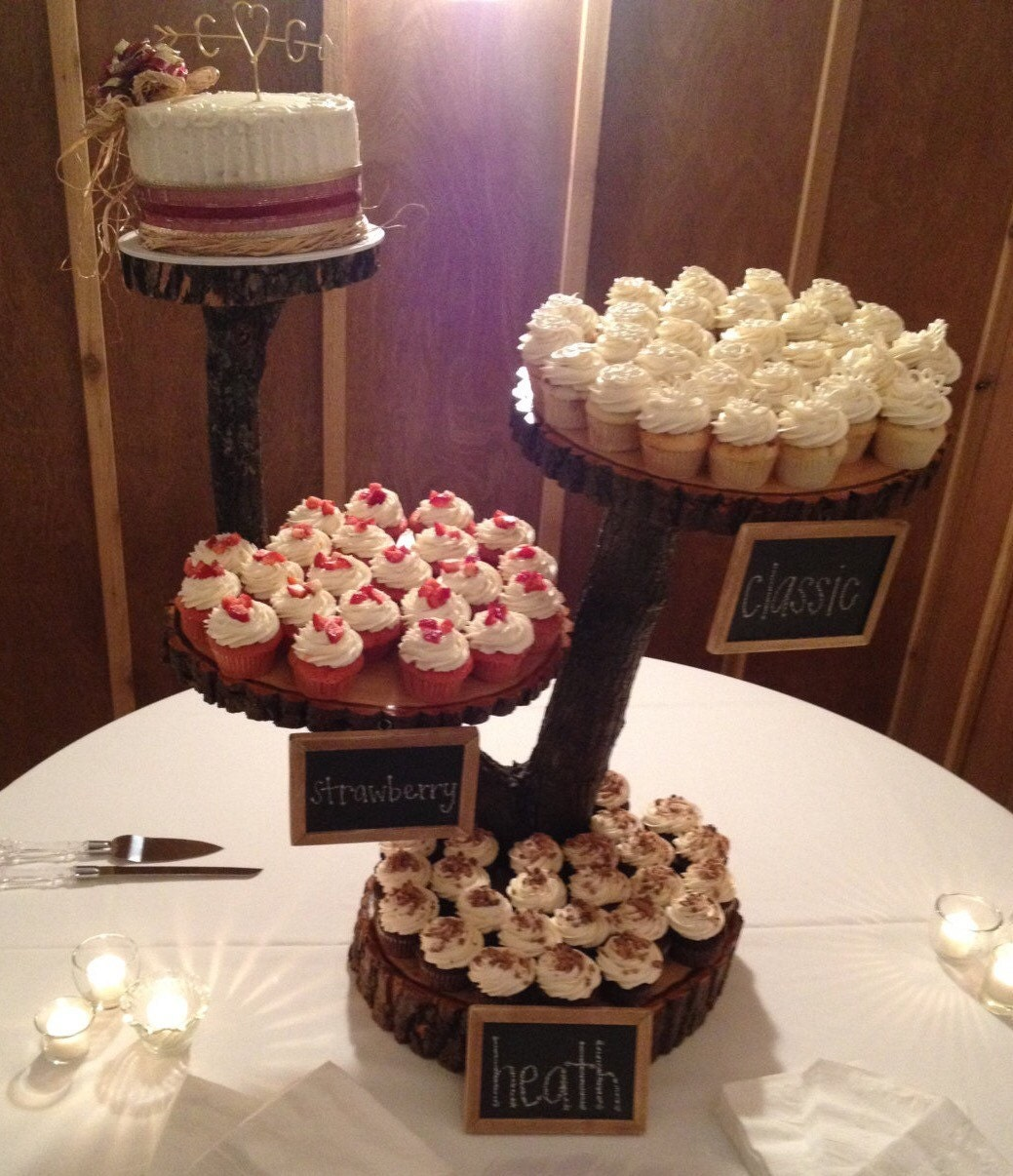 Rustic Cake Stand Rustic Cupcake Stand Wedding Decoration: 4 Tier Large Rustic Wood Cupcake Stand. Wedding Cupcake Stand