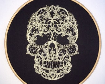 Cream lace skull embroidery hoop art ivory black embroidered tattoo gothic alternative lacey home decor girly life death wall hanging