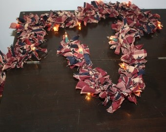 6 ft  Lighted Rag Garland