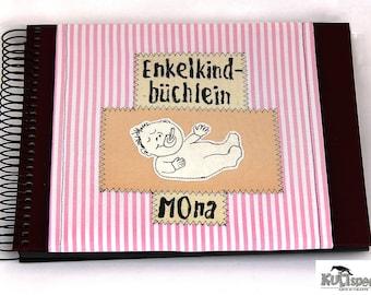 Newborns-album, pink photo-album Baby, Baby-Album, christening gift name, children-photo-album, name-album individually, kultspecht germany