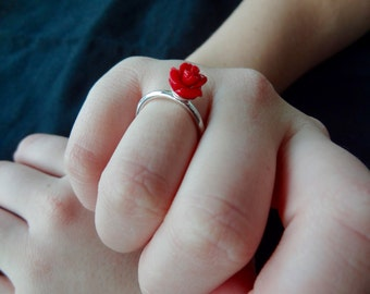 Sterling Silver Ring with Red Coral Rose