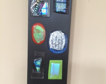 fused dichroic glass modern art piece