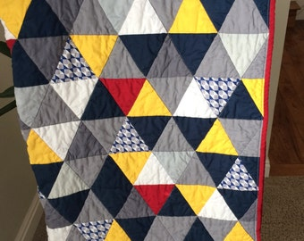 Grey and navy triangle quilt