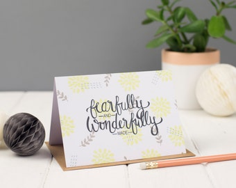 Fearfully and Wonderfully Made Greeting Card, Christian Greeting Card, A6 Greeting Card
