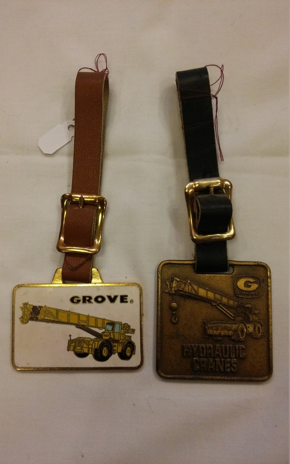2 Vintage Advertising Watch FOBS from the Grove Manufacturing Company Shady Grove, Pennsylvania 17256