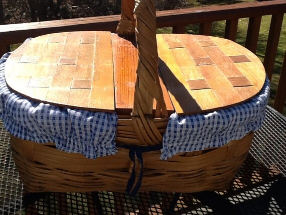 Whiker Picnic Basket W Double Wood Lid