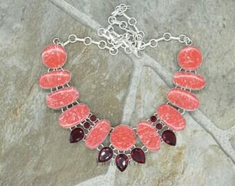 Red Jasper and Garnet Sterling Silver Necklace