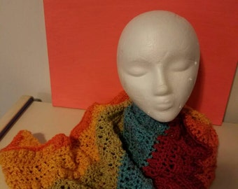 Asymmetrical rainbow scarf