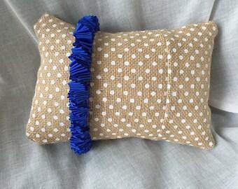 Burlap Polka Dot with Ruffle Accent Pillow 6x9