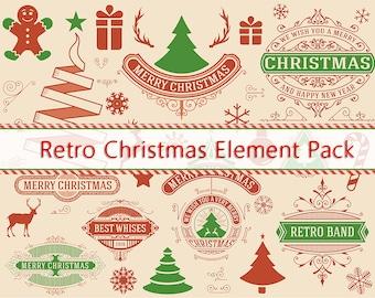 Retro Christmas Digital Graphics and Signs