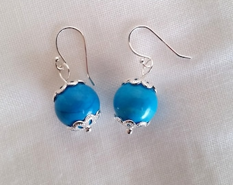 Turquoise Howlite on sterling silver earwires onetwelvejewelry