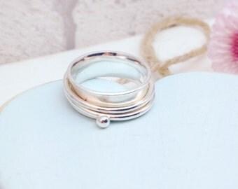 Spinner Ring, Silver Spinner Ring, Spinning Ring, Silver Spinning Ring, Wide Band, Statement Ring, Hammered Silver Ring, Wide Silver Ring