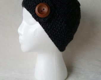 Grey knit button hat