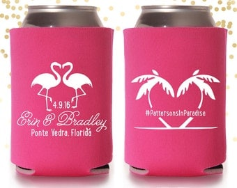 Paradise Palm Flamingo Wedding or Bachelorette Can Cooler Beer Cozy