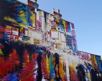 """Sunshine on a Rainy Day, Graffiti Art, Bristol UK, 12x12""""(30x30cm). Photographic Mounted Wall Art. Free U.K P+P."""