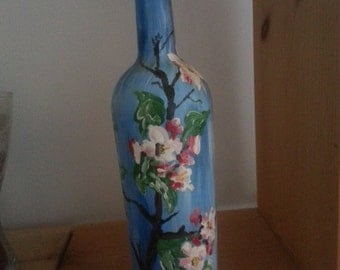 hand painted bottle wine