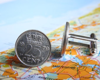 Netherlands Dutch quarter coin cuff links in birth year 1960 - 1961 - 1962 - 1963 - 1964 - 1965 - 1966 - 1967 - 1968 - 1969 Holland