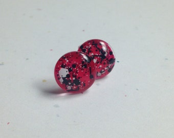 Red Graffiti Dome Earrings