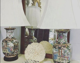 Pair of Lamps, Pair of Rose Medallion Lamps