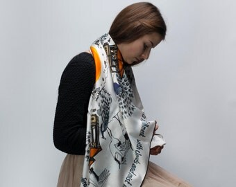 Silk scarf: hand drawn pattern digitally printed