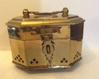Vintage Brass Octagonal Box