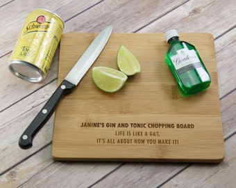 SECONDS Personalised G&T Chopping Board - Gin and Tonic Chopping Board - Gin Gift - Gin and Tonic Gift - Gin Lovers Gift - Gin Chopping