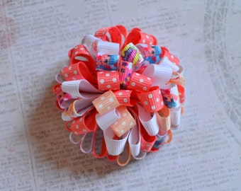 Pupal Hopkins Bow round fluffy bow little girls bow-knot hand work.