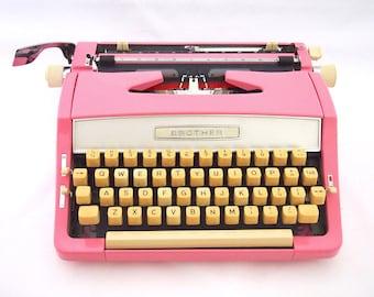 Brother typewriter, 1979, pink typewriter, working typewriter, portable typewriter, one of a kind, customized, japanees typewriter.