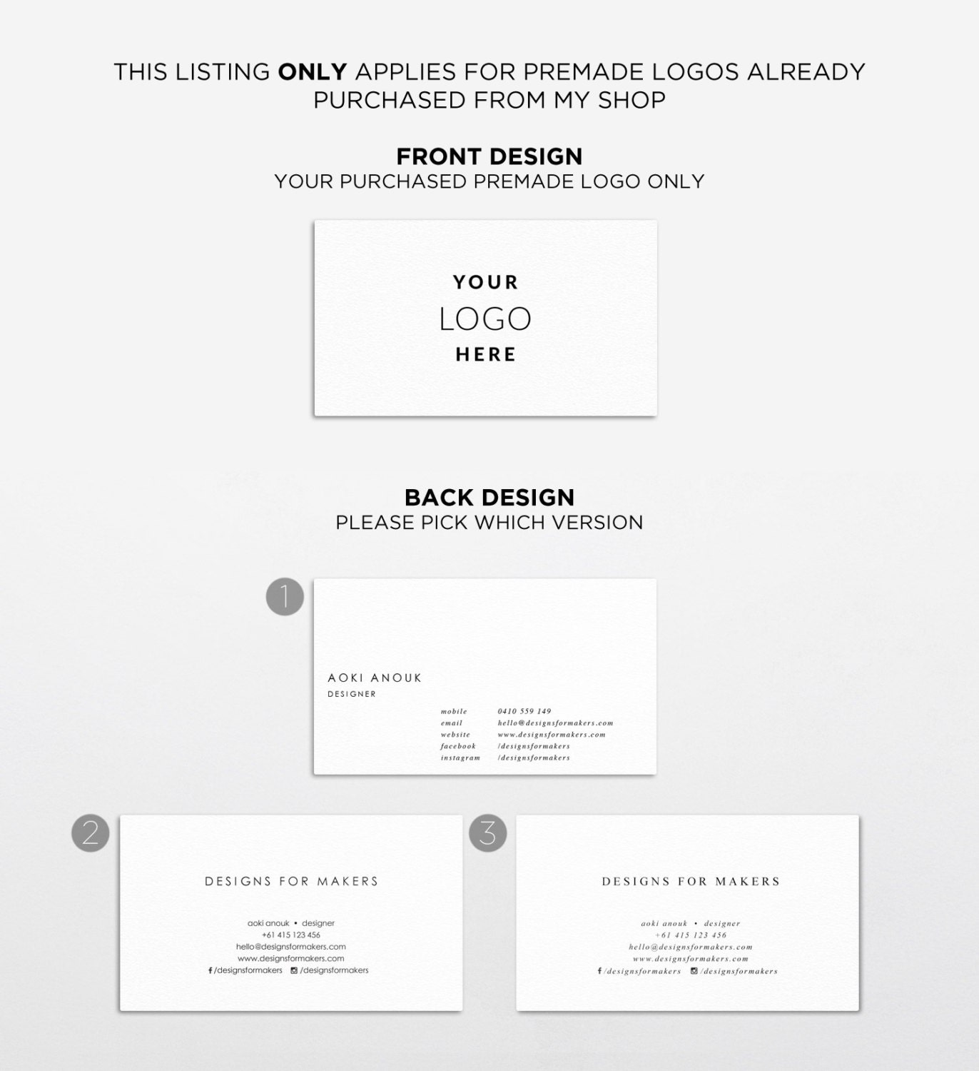 Matching Business Card for Premade Logo Design - Business Card ...