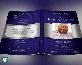Blue Dignity Funeral Program Publisher Template