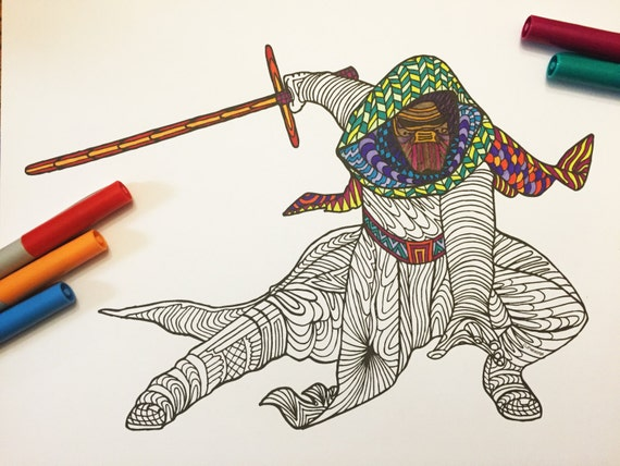 Kylo ren pdf zentangle coloring page for Kylo ren coloring page