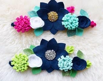Felt Flower Crown // Midnight Navy Crowns With Glitter