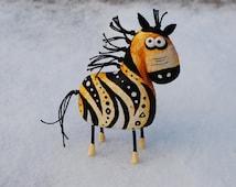 Zebra figurine, paper mache statuette, animal sculpture, art object