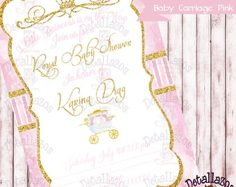 Invitation baby Carriage pink