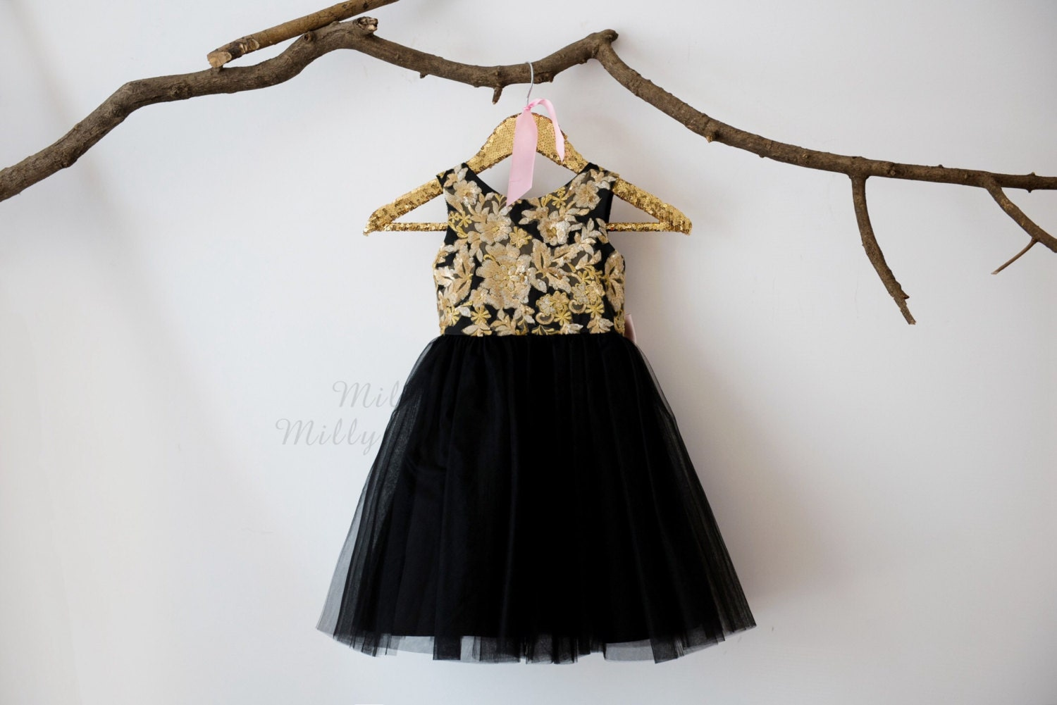 Gold Lace Sequin Black Tulle V Back Flower Girl Dress Wedding