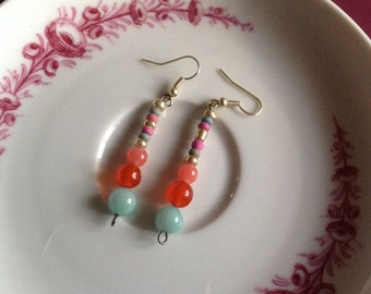 Handmade Turquoise & Coral Drop Earrings