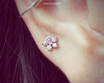 16g CZ sparkly flower ear cartilage stud earring, tragus helix conch piercing barbell / 316L steel / Sold as 1 piece/ labret bar(optional)