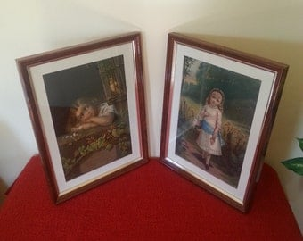 """Vintage Paintings H. Hallett & CO """"Little Daisy"""" and """"The Evening Song"""" Matching Pair"""