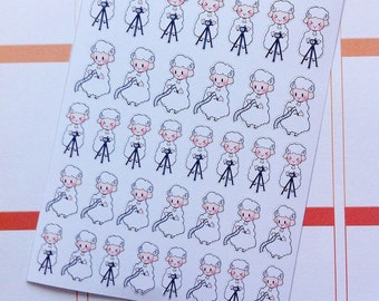 Film/Edit Sheep Emoji/Character Planner Stickers - SHEEPIE