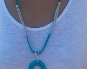 Pendant crochet necklace-crocheted - pendant boho