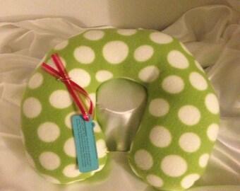 Green/White Polka Dot girl's Fleece Travel Neck Pillow
