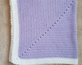 Lavendar and White Baby Blanket