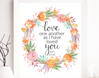 John 13:34; Wedding Print, Bible wedding printables, Wedding Printables, Bible Wedding Gift, Wedding Gift, Love one another, Wedding DIY art