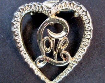 Vintage Signed Gerry's Gold Tone LOVE Heart Brooch Pin