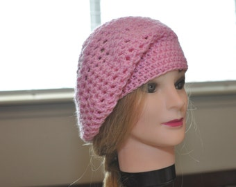 Slouchy Beret Hat Pink