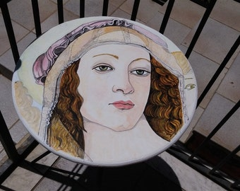 coffee table homage to Botticelli, detail of the Madonna of the pomegranate