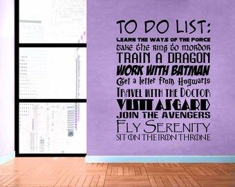 Fandom To Do List - Removable Vinyl Wall Decal Sticker