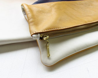 white,yellow leather handbag/white,yellow leather clutches/leather bag/leather clutches/ Women's Handbag / Raw Edged Shopper